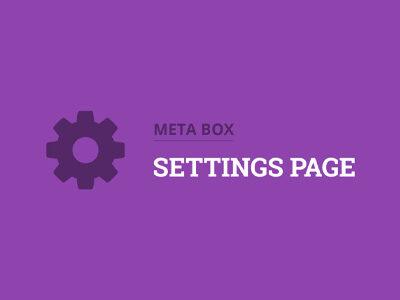 MB Settings Page Plugin