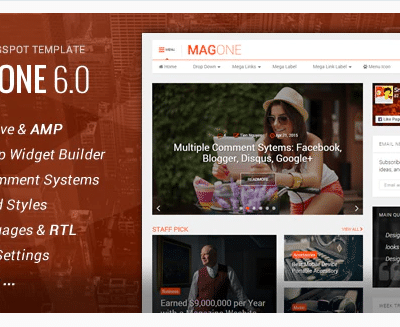 MagOne Responsive News & Magazine Blogger Template